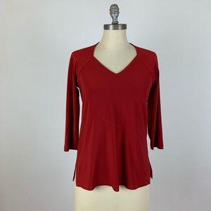 Sympli Red 3/4 Sleeve Blouse